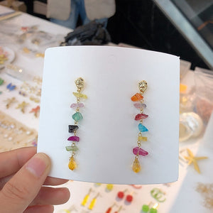 MENGJIQIAO New Korean Elegant Natural Colorful Crystal Stone Tassel Drop Earrings For Women Girls Pendientes Oorbellen Jewelry