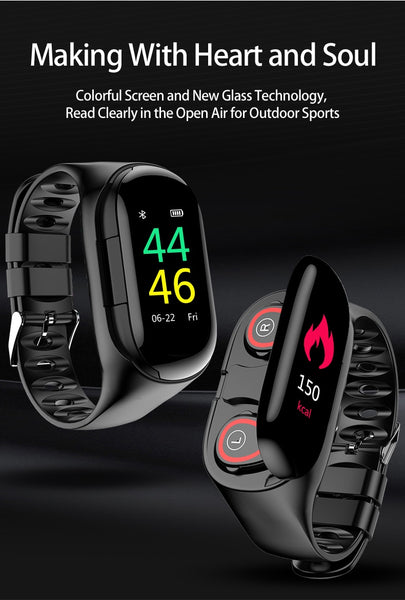 Smart Watch Bluetooth Headphone 2 in 1, Fitness Tracker Band with Heart Rate Blood Pressure Monitor Waterproof Smart Bracelets