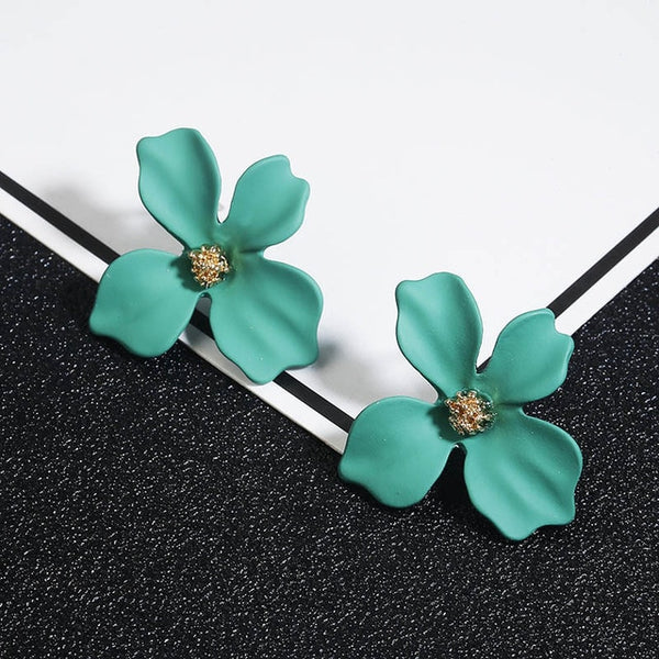 Korean Style Cute Metal Flower Stud Earrings For Women Girl Fashion Big Sweet Earring Femme Brinco Summer Jewelry Gifts