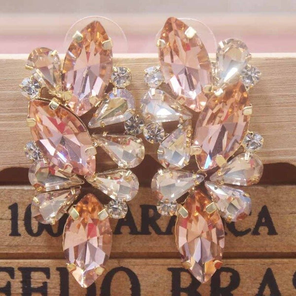 2019 new Lady Valentine's Day Gifts earrings Zerong Colorful rhinestone champagne/red/fuchsia glass stone 1pcs delicate fashion