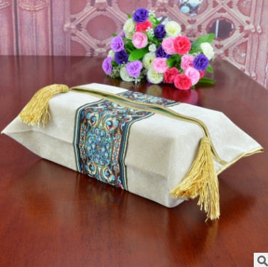 European Style Embroidery Tissue Box Pumping Napkin Cover Classical Paper Holder Storage Bag Wedding Room Car Hotel Decorative24