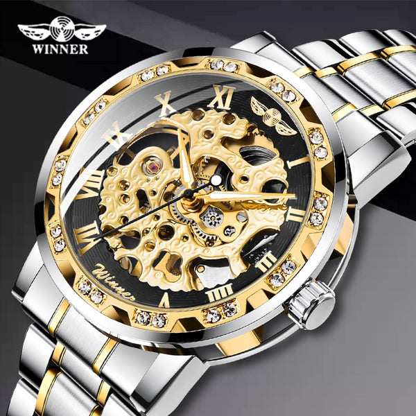 Transparent Fashion Diamond Display Luminous Hands Gear Movement Retro Royal Design Men Mechanical Skeleton Wrist Watches