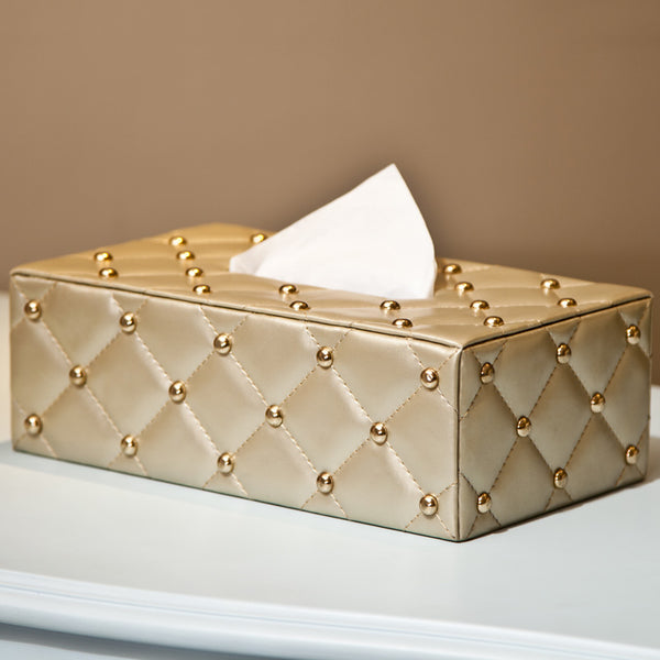 European style tissue box living room paper napkins tray Leather tissue box Creative simple car paper box wx11221725