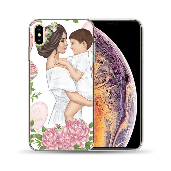 Black Brown Hair Baby Mom Girl Queen Soft Case For Funda iPhone 8 7 6 6S Plus 5 5S SE Cover For Capa iPhone 11 Pro X XS Max XR