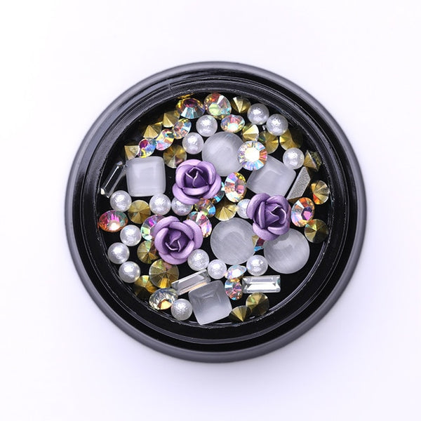 3D Nail Rhinestones Stones Mixed Colorful DIY Design Decals with Nail Curved Tweezer Crystals Nail Art Decorations