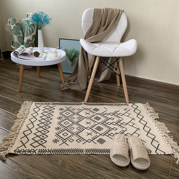 Retro Carpet For Sofa Living Room Bedroom Rug kitchen rug Cotton Tassels Mandala Carpets Table Runner Door Mat Home Decoration