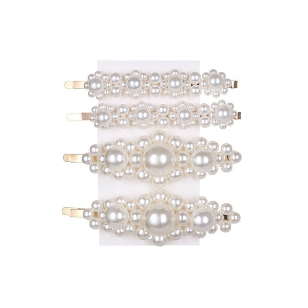 Fashion Pearl Hair Clip Snap Button Hair Pins for Women Sweet Pearl Hairpin Hair Clips Jewelry Lady Barrette Stick