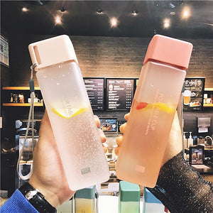 500ml Cute New Square Tea Milk Fruit Water Cup for Water Bottles Drink with Rope Transparent Sport Korean Style Heat Resistant