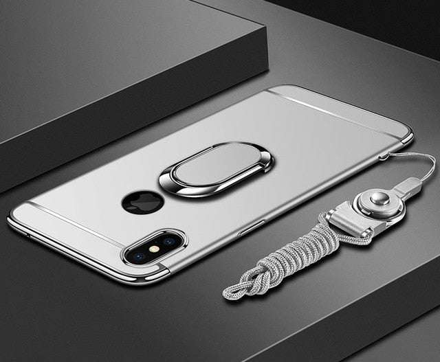 Ultra Thin For iphone 11 pro Xs Max XR Plating Hard Pc Cover 3 In 1 Case For iphone x 7 8 6S 6 Plus Case phoneRing Lanyard