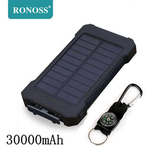 Power bank 30000 mah Portable Solar Power Bank 30000mAh External Battery DUAL Ports powerbank Charger Mobile Charger