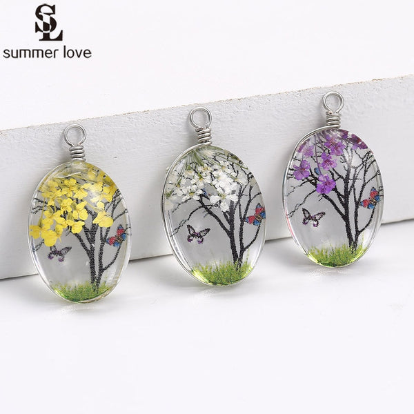 10pcs Wholesale Cabochon Glass Ball Dried Flower Tree Pendant Charms for Necklace Earring Making Diy Silver Jewelry Findings