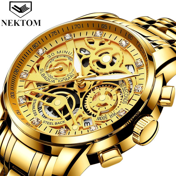 Stylish Wrist Watches Men Quartz Watch  Luxury Golden Chronograph Men Watches Gold Big Male Wristwatch Man