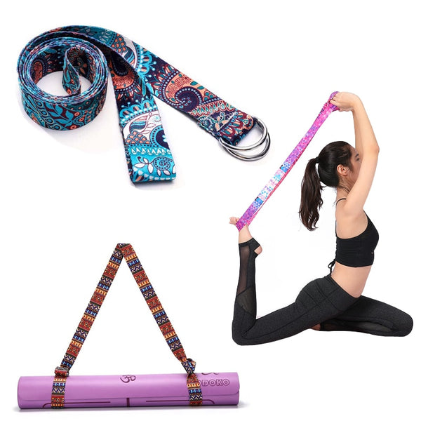 Adjustable Yoga Stretch Strap Multi-Colors Fitness Exercise D-Ring Washable Stretch Strap Yoga Belts Pilates Yoga Mat Strap