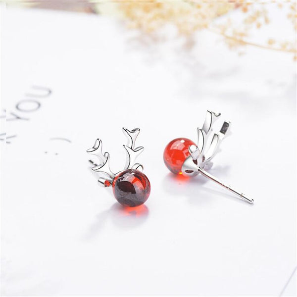Red Sweet Antler Elk Crystal Deer Stud Earrings
