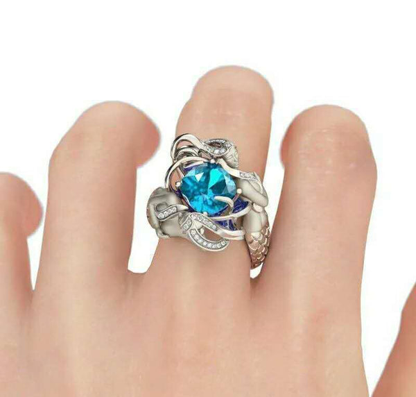 2019 Fashion 7 colors Mermaid Ring 925 Sterling silver AAAAA CZ Party Wedding Band Rings for women men Dropshipping Jewelry Gift