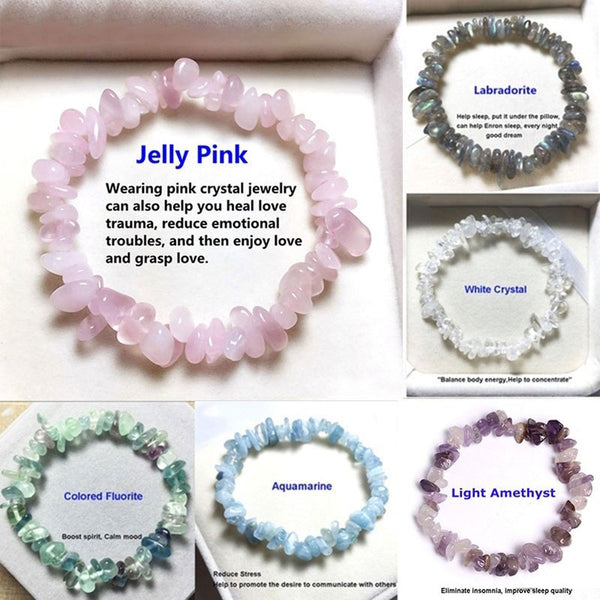 Natural Pink Quartz Crystal Stone Chip Beads Bracelet Stretch Beaded Bracelets for Women Men Unisex Jewelry