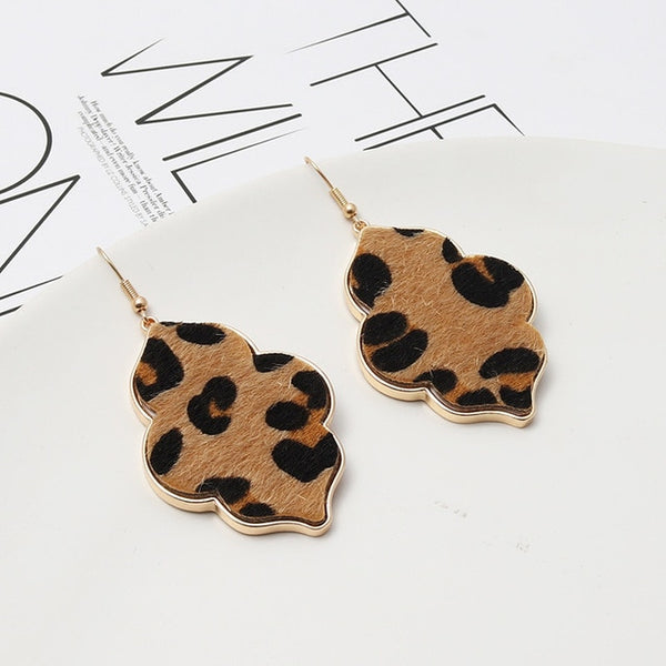 Fashion Flower Hexagon Abalone Shell Leopard Earrings Stone Gold Color Dangle Brincos Pendientes Brand Jewelry Women