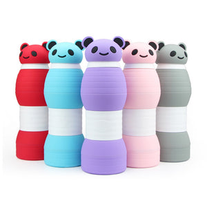 Food Grade Silicone 600ML Creative Panda Collapsible Water Bottles For Sports Drink Camping Travel My Cycling Foldable Bottle