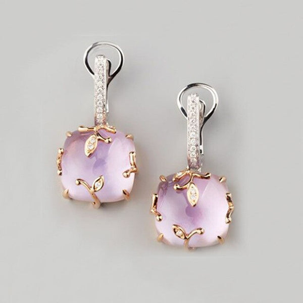Fashion Pink Stone Love Earrings for Women Femme Jewelry Gold Color Statement Leaves Earings Valentines Day Gifts Brincos Bijoux