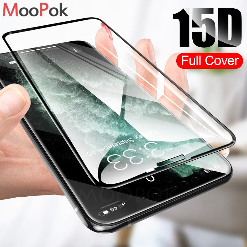 15D Tempered Glass on the For iPhone X 7 8 6 Plus Screen Protector Full Cover Protective Glass For iPhone XR XS 11 Max 6 7 film