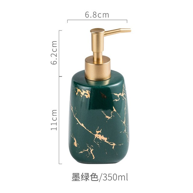 Creative luxury Nordic godenTexture marble ceramic bathroom lotion bottles INS bath decoration accessories shampoo dispenser
