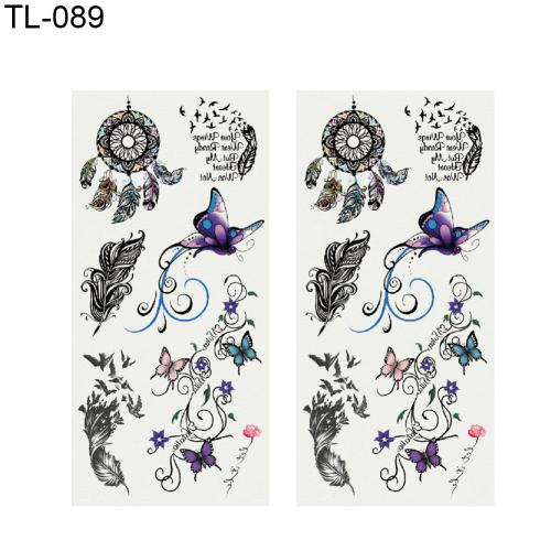 2 Sheets Rose Feather Letter Butterfly Temporary Tattoo Hand Body Art Sticker Give a cool and fashionable look for your hand.