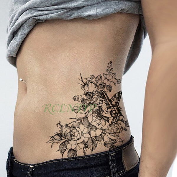 Waterproof Temporary Tattoo Sticker Rose Flower Butterfly fake tatto flash tatoo tatouage big size body art for girl women men