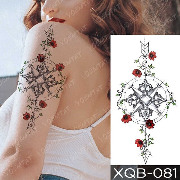 Waterproof Temporary Tattoo Sticker Geometric Line Lily Flower Flash Tattoos Rose Fox Lotus Body Art Arm Fake Tatoo Women Men