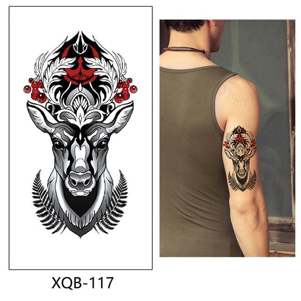 Temporary Tattoo Sticker Rose And Wolf  Fake Flash Waterproof  Fashion Small Body Art Men Women XQB