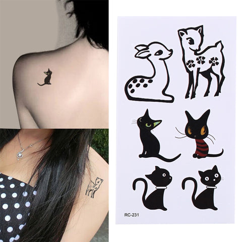 Black Cat Deer Waterproof Tattoo Sticker Temporary Tatoo Body Art Arm Back Waist Men Girl Women Fake Tattoos Flash Tatto Tatuaje