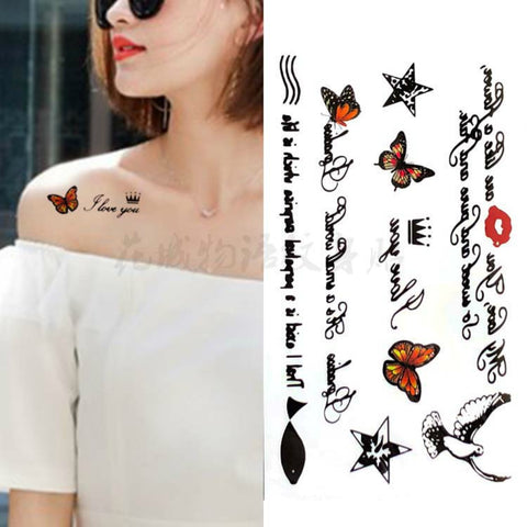 Butterfly Star Crown Lip Waterproof Tattoo Sticker Temporary Tatoo Body Art Arm Girl Women Letter Bird Fake Tattoos Flash Tatto