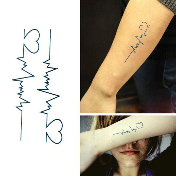 Waterproof Temporary Tattoos Skin Decoration Sex Products Tags For Body Tattoo Stickers Electrocardiogram 10*6cm