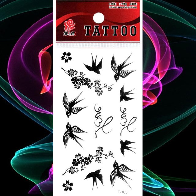 Waterproof Temporary Tattoos Stickers Black Swallow Bird Fake Tatto Flower Flash Tatoo Tatouage Body Art Hand Leg Arm Women Men