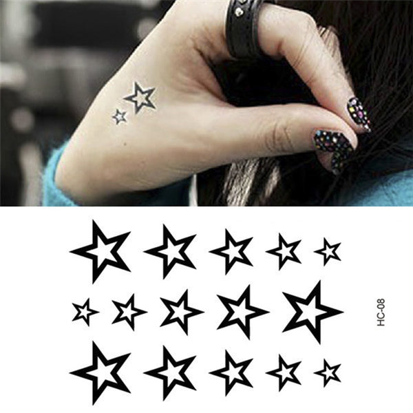 1pc Fashion Summer Style Waterproof Temporary Body Art Hollow Stars Water Transfer Flash Tattoo Finger Wrist Arm Sticker