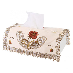Tissue Box Napkin Square Shape Beautiful Polyester Embroidery Tissue Box Cover  Home Decoration Tissue Beautiful Embroider