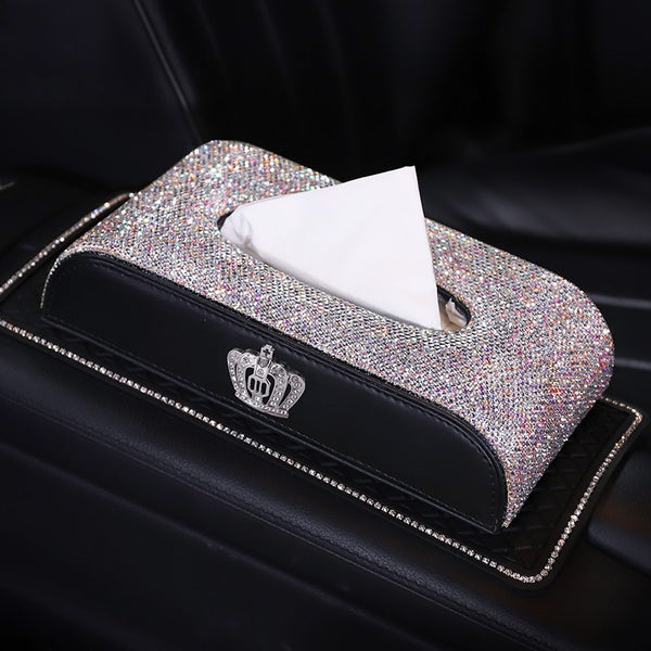Car Tissue Box Bling Crystal Leather Paper Towel Cover Case Holder Women Universal Box Cover for Home Office Car Accessories
