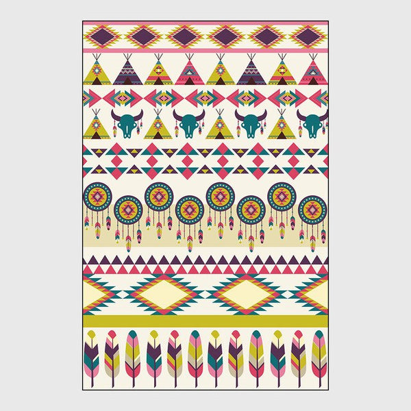 Nordic Geometric Carpets for Living Room Bedroom Area Rug Geometric tribal ethnic style Printing Carpet colour pattern Floor Mat