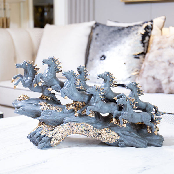 Modern Lucky Feng Shui Eight Horse Resin Ornaments Crafts Home Livingroom Figurines Decoration TV Cabinet Desktop Accessories