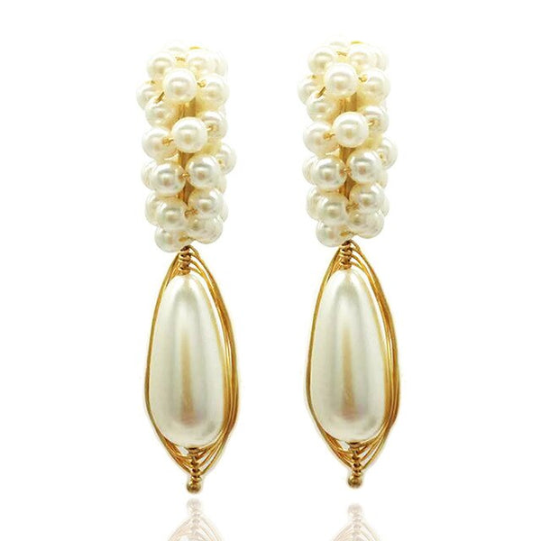 Earrings ladies new handmade pearl crystal fashion copper wire braided earrings charm jewelry earrings ear hook ear accessories