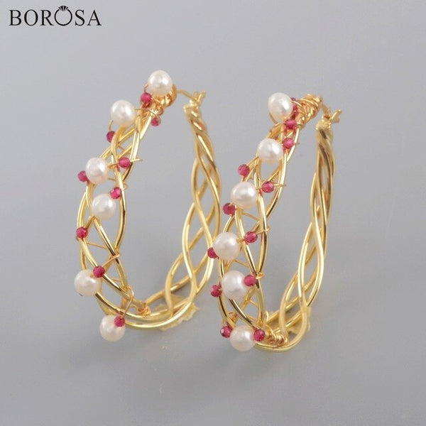 BOROSA Pearl Earrings Handmade Garland Shape Hoop Earrings Wire Wrapped Pearl Drop Earrings for Women Christmas Earrings WX1316