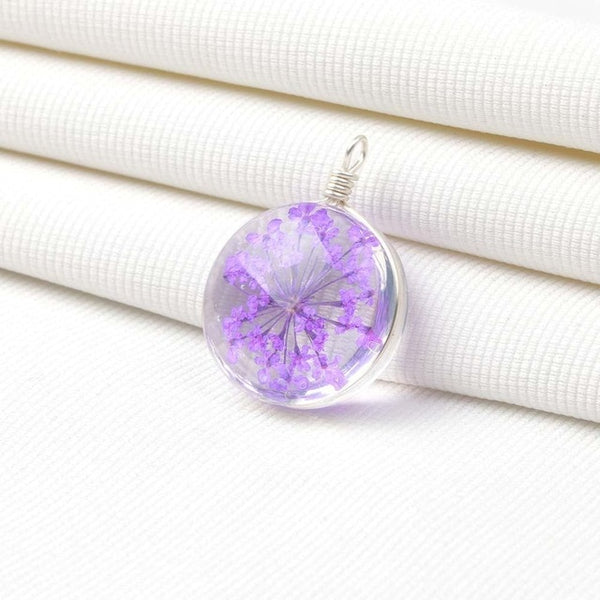 2020 Pink Dried Flower Cabochon Glass Charm fit Necklace Earrings Round Pendant For Jewelry Making DIY Accessories 10pcs/ lot