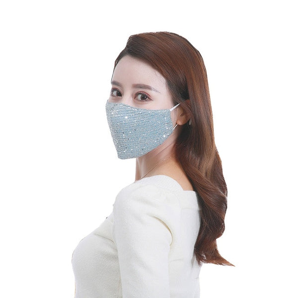 Fashion Sequin Ice Silk Mouth Mask Women Breathable Anti Dust Face Mask Summer Pure Color Resuable High Quality Masks Wholesale