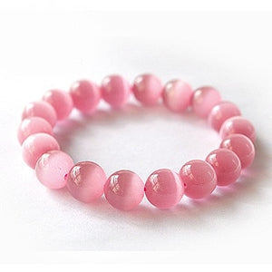Fashion Natural stone Cute 6/8/10/12MM Pink Opal Beads Bracelet Bangle for Women Opal Bracelet  Jewelry