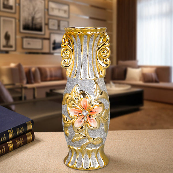 Europe Gold Plated Frost Porcelain Vase Vintage Advanced Ceramic Flower Vase for Room Study Hallway Home Wedding Decoration