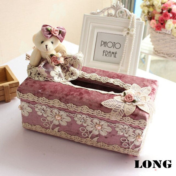 Car Lace Tissue Box Home Fashion Tissue Boxes Paper Pumping Tissue Cover Napkin Flannelette Lovely Bear Lace Tissue Box HG0011