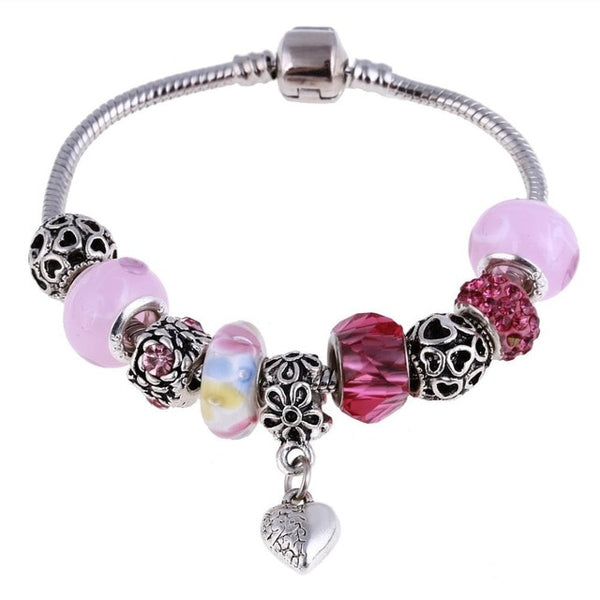 Hotomoto: Pink Crystal Charm Silver Bracelets & Bangles for Women