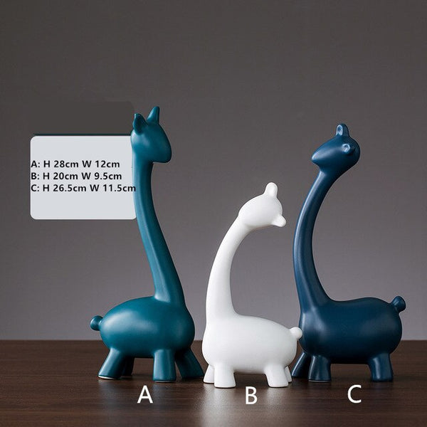 Nordic Ceramics Snail Elephant Deer Giraffe Ornaments Animal Model Figurines Miniatures Bedroom Office Porch Decoration Crafts