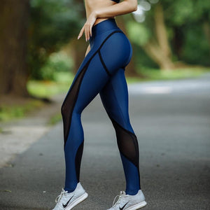 New Blue And Black Patchwork Women Mesh Leggings Sexy Push Up Slim Jeggings High Elastic Waist Breathable Fitness Leggings