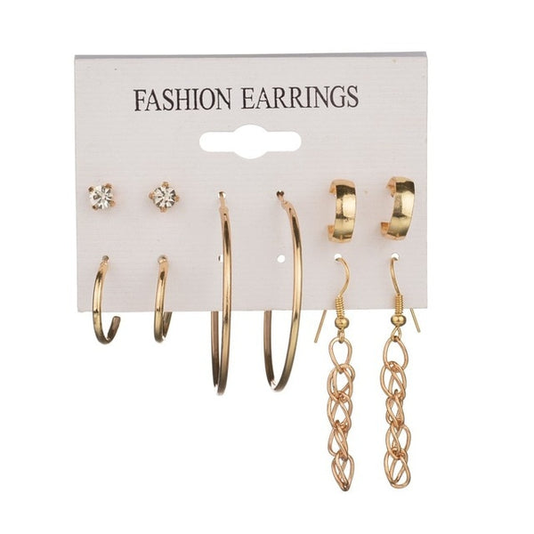 New look earrings 25 Style Heart Flowers Infinite Symbol Stud Earrings Set 2019 New Rhinestone imitation Pearl Earrings for Women Gift