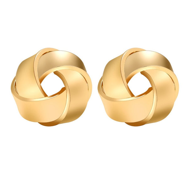 Minimalist Gold Silver Color Love Knot Earrings for Women Classic Twisted Stud Earrings Tie the Knot Wedding Jewelry